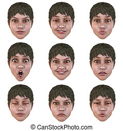 9 nine emotions with one face - computer generated face with...