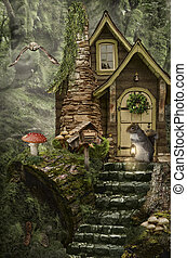 fairy house stump - series, fairy house stump, a fictional...