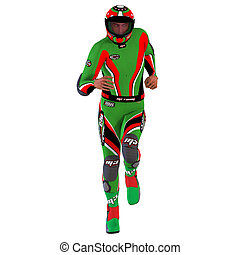 3D Racer - Man dressed in a racing suite Image with Clipping...