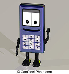 Cartoon cell phone with cute and funny emotional face - A...