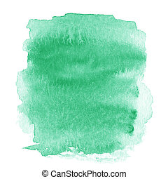 Bright green spot, watercolor abstract hand painted textured...