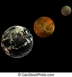 Solar System - solar system. focus on: Earth Venus Mercury...