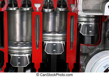 car engine pistons and valves detail