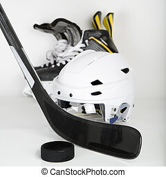 Hockey gear square image - Hockey gear - stick, puck, helmet...