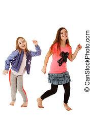 niños, bailando,
