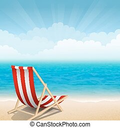 Sunny coast - Vector illustration of beach chairs at the...