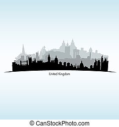 Vector illustration of Great Britain Black silhouette of...