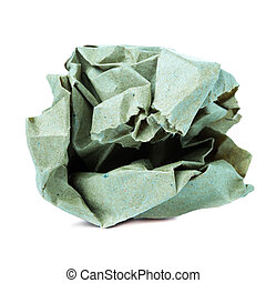 Crumpled colorful recycled paper ball isolated on white backgrou