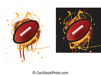 american football - grunge style illustration on a white...