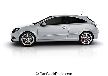 3d render of a sport car on white background