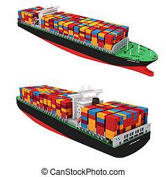 3D, carga, Recipiente, navio, ligado, branca, fundo,