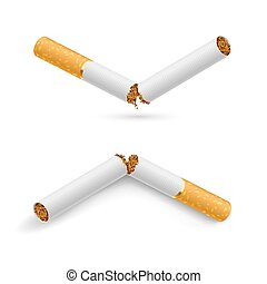 Broken Cigarettes - Two white broken cigarette on a white...