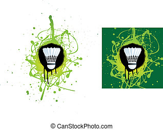 badminton - grunge style illustration on a white background