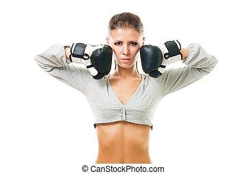 Woman, boxing champion