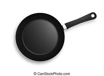 Frying Pan - Skillet - Black frying pan with plastic handle....