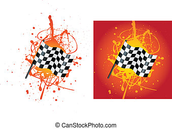 checkered flag - grunge style illustration on a white...