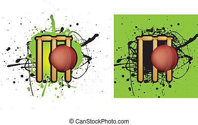 cricket stumps - grunge style illustration on a white...