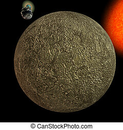Solar System - Mercury - image of the solar system. focus...