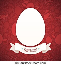 Red Happy Easter Poster With Egg In the EPS file, each...