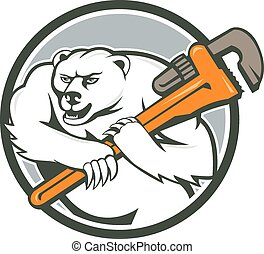 Polar Bear Plumber Monkey Wrench Circle - Cartoon style...