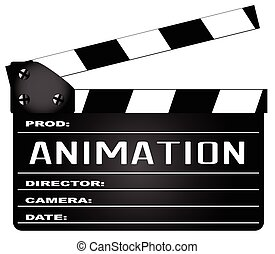 Animation Clapperboard - A typical movie clapperboard with...