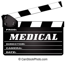 Medical Clapperboard - A typical movie clapperboard with the...