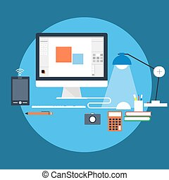 Workstation - Flat style vector illustration of workstation...