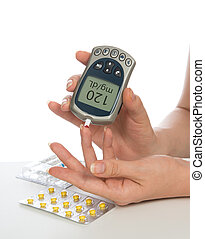 Diabetes patient measuring glucose level blood test isolated...