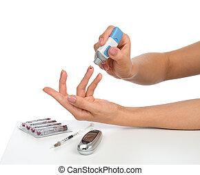 glucose, conceito, picada, nível, dedo, teste,  diabetes, sangue