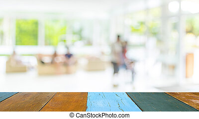 blur image of living room - blur image of people sit in...