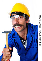 Growling CarpenterConstruction Worker With Hammer - A...