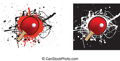 table tennis - grunge style illustration on a white...