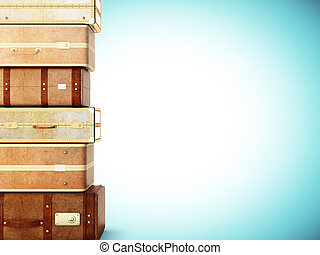 many browh leather suitcase on blue background