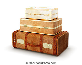 three browh suitcase - three browh leather suitcase on white...