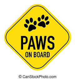 paws on board sign - paws silhouette illustration on yellow...