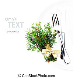 Festive table setting with Christmas ornaments and copy...