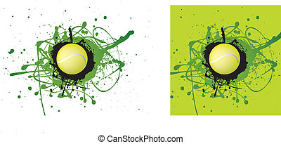tennis icon - grunge style illustration on a white...