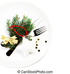 Christmas table place setting with christmas decorations...