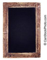 Vintage blackboard on wooden background. Blank Chalk board with