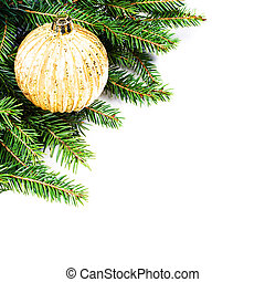 Christmas Fir Tree Border with  festive ornaments isolated on wh