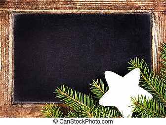 Christmas Frame With Holly Decoration on Vintage Blackboard....
