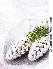 Christmas Card with Fir tree branch and Silver Christmas...