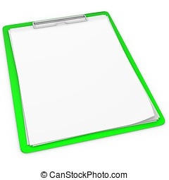 3d green pad holder on white background