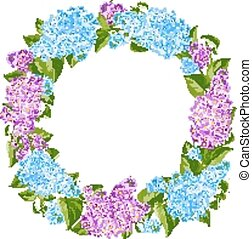 Wreath of lilac twigs.