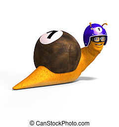 Cartoon Racing Snail - funny snail with shell and Clipping...
