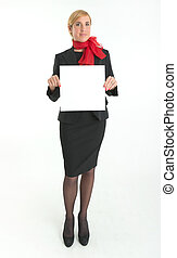 Hostess with blank sign - Smiling hostess holding a blank...