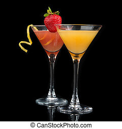 Two cocktails red cosmopolitan cocktail decorated with citrus le