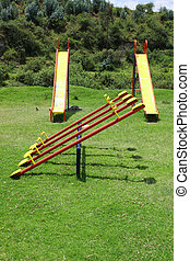 See Saw and Slides - A see saw and slides in a childrens...