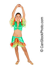 Girl dancing with Latin American clothing - Teenage girl...