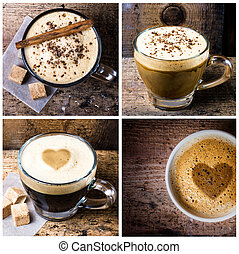 Coffee collage with Coffee espresso, cappuccino, latte and...